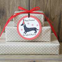 12 Dachshund Personalised Gift Tags.