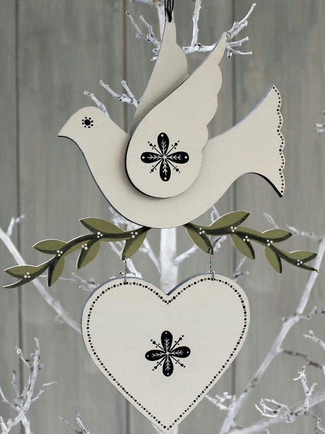 Wooden Winter Dove
