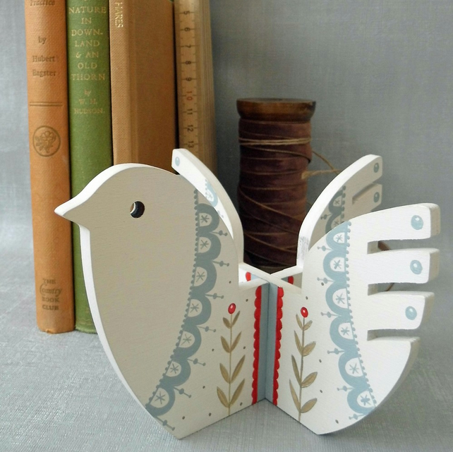 Hand Painted White Wooden Bird