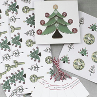 Luxury Christmas Gift Wrapping Set of Wrap, Cards, Stickers & Tags. FREE UK P&P