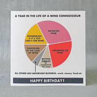 Wine Birthday Card & Gift Tag.  FREE UK Postage.