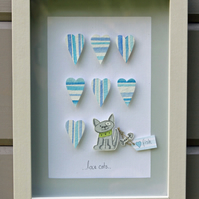 Cat...3D framed watercolour picture