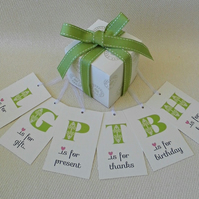 12 Initial Gift Tags in Apple Green or Candy Pink