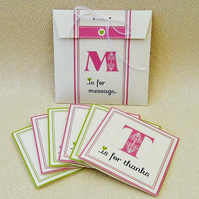 Set of 6 Initial Notecards