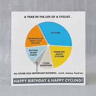 Cyclist Birthday Card & Gift Tag.  FREE UK Postage.