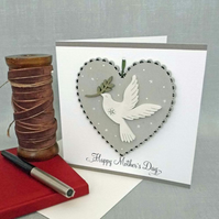 Hand Painted Wooden Heart Card with choice of message