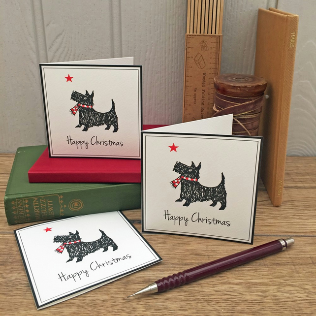 12 Scotty Dog Christmas Cards FREE UK P&P