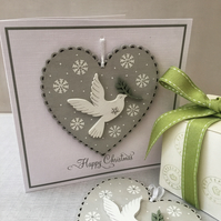 Wooden Heart Decoration Christmas Card