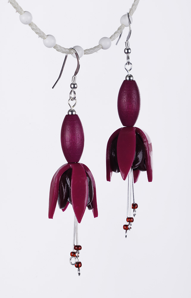 Fuchsia flower earring, pink & crimson