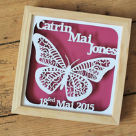 Butterfly new baby framed papercut
