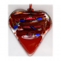 Love Heart Fused Glass Suncatcher  002 7cm