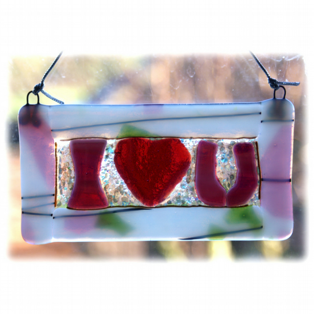 I Love You Fused Glass Hanging Plaque