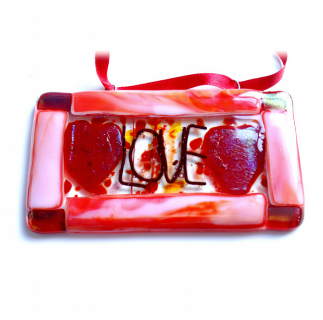 Love Hearts Fused Glass Hanging Plaque