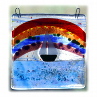Rainbow Boat Fused Glass Picture Seascape Dichroic 001