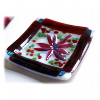 Fused Glass Dish 11cm Plum Flower Dichroic Bordered 003