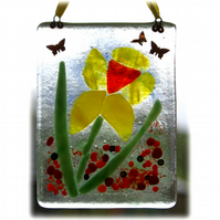 Daffodil Picture Fused Glass Flower 001