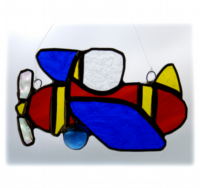 Aeroplane Suncatcher Stained Glass Red Baron Flying