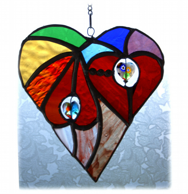 SOLD Heart of Hearts Suncatcher Rainbow Stained Glass 030