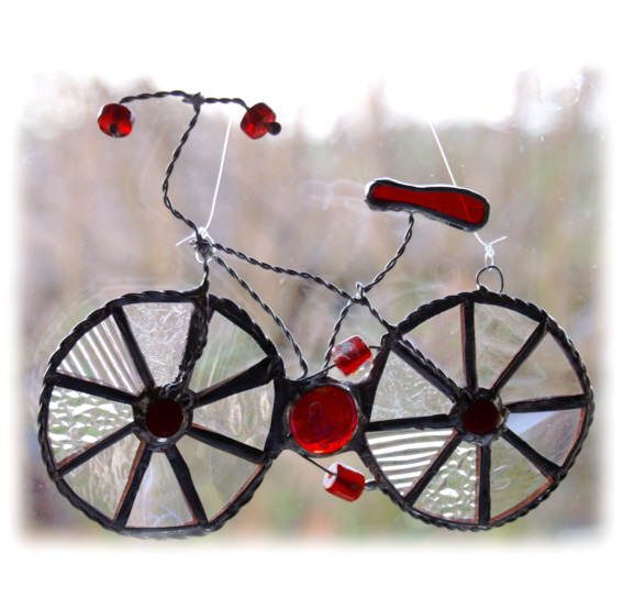 Bicycle Suncatcher Red Stained Glass Handmade man cyclist cycle bike