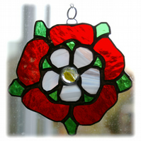 Tudor Rose Suncatcher Stained Glass Red White Handmade