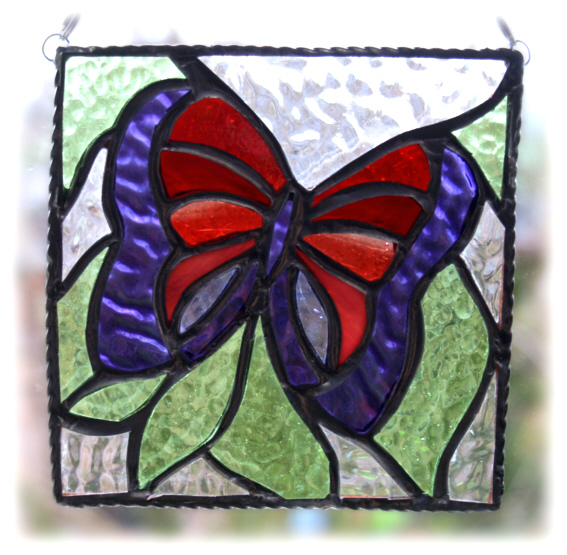 Butterfly Picture Stained Glass Suncatcher Panel Handmade