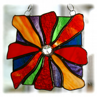 Rainbow Fire Stained Glass Suncatcher Handmade Abstract Flames Bonfire