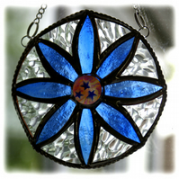 Daisy Ring Stained Glass Suncatcher Blue Handmade