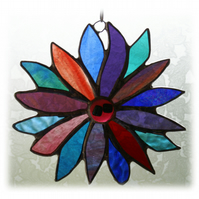Jewel Flower Stained Glass Suncatcher Emerald Sapphire Ruby 001