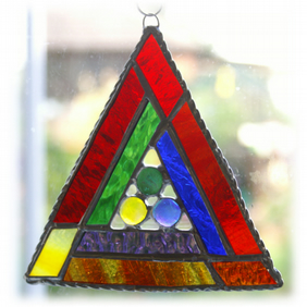 Rainbow Triangles Suncatcher Stained Glass Handmade Dichroic Snooker Triangle