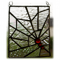 Spiders Web Abstract Suncatcher Stained Glass Handmade