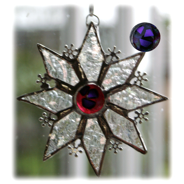 Stained Glass Star Snowflake sun catcher Purple with crystal beads
