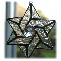 Star of David Suncatcher Stained Glass Iridescent Crystal