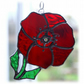 Poppy Suncatcher Stained Glass Handmade Red Flower 025