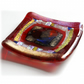 Fused Glass Trinket Dish 7cm Red Bordered Dichroic 006