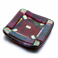 Fused Glass Trinket Dish 8cm Plum Bordered Dichroic 004