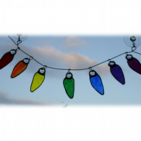 Christmas Tree Lights Stained Glass Rainbow  Xmas decorations