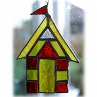 Beach Hut Suncatcher Stained Glass Yellow Red