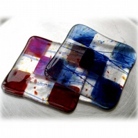 Pair of Fused Glass Coaster 8cm   Blue Red