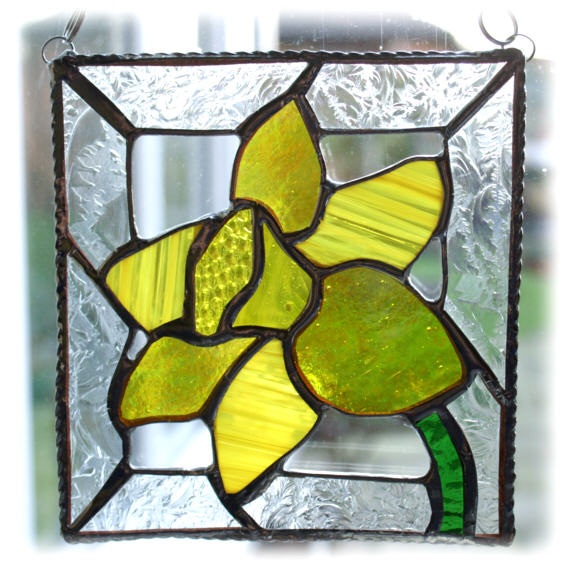 Cathedral Glass Spring Daffodil Stained Glass Suncatcher Original Design /& Handmade