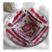 Fused Glass Bowl Round 13cm Cranberry Pink Striped Dichroic
