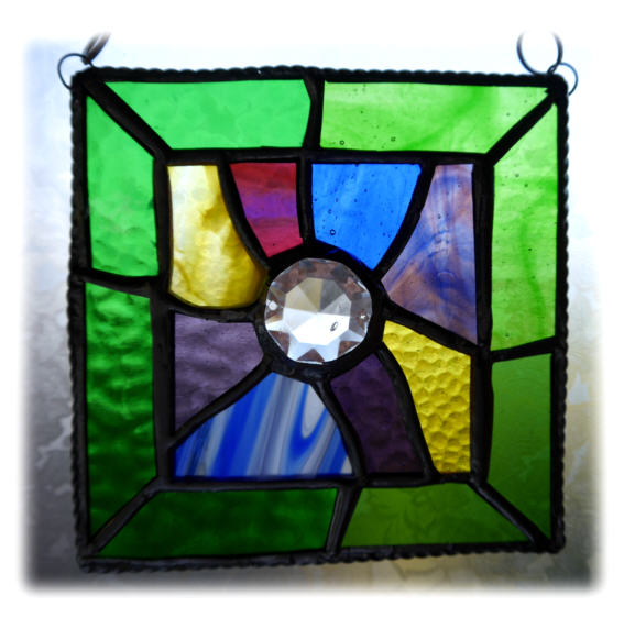 Jigsaw Suncatcher Stained Glass Handmade Spring Colours Abstract
