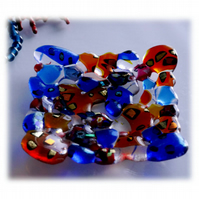 Fused Glass Ornamental Nuggets Dish 12cm Dichroic Red Blue