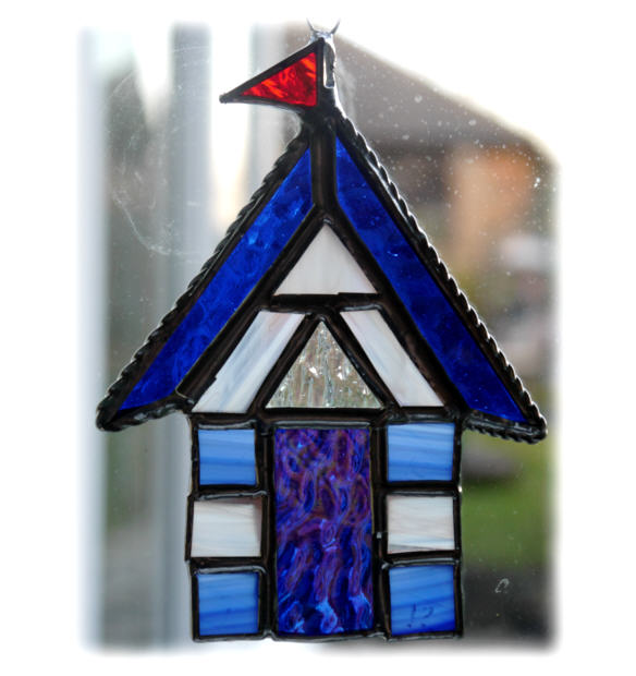 Beach Hut Suncatcher Stained Glass Blue White