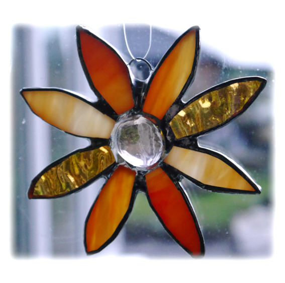 Peach Daisy Stained Glass Suncatcher