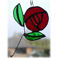 Mackintosh Rose Suncatcher Stained Glass Red