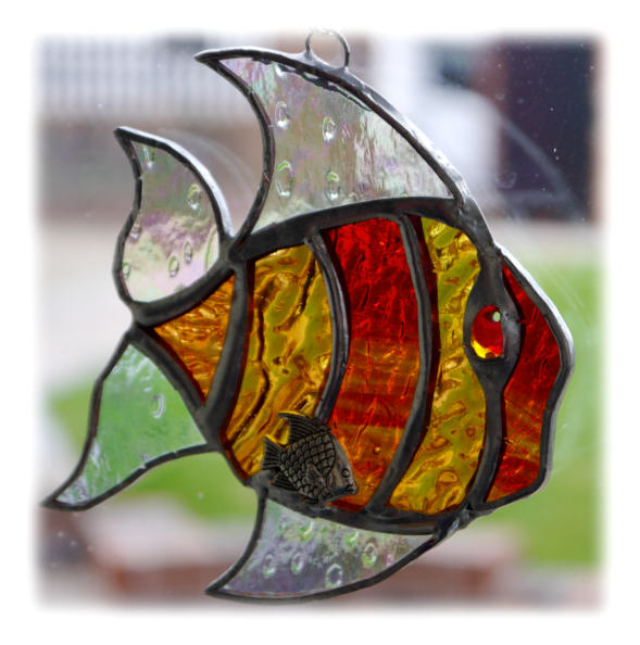 Tropical Fish Suncatcher Stained Glass Handmade Folksy