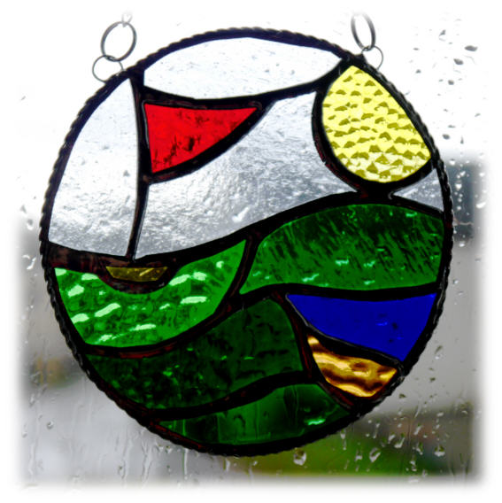 Golf Ball Stained Glass Suncatcher Handmade Ring Green  Flag Sport