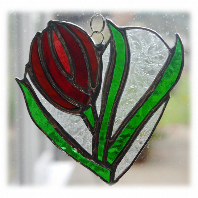 Tulip Heart Suncatcher Stained Glass Red