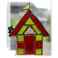 Beach Hut Suncatcher Stained Glass Red Yellow Seaside Holiday