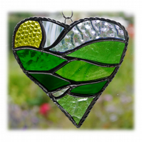 Green Fields Heart Stained Glass Suncatcher Handmade